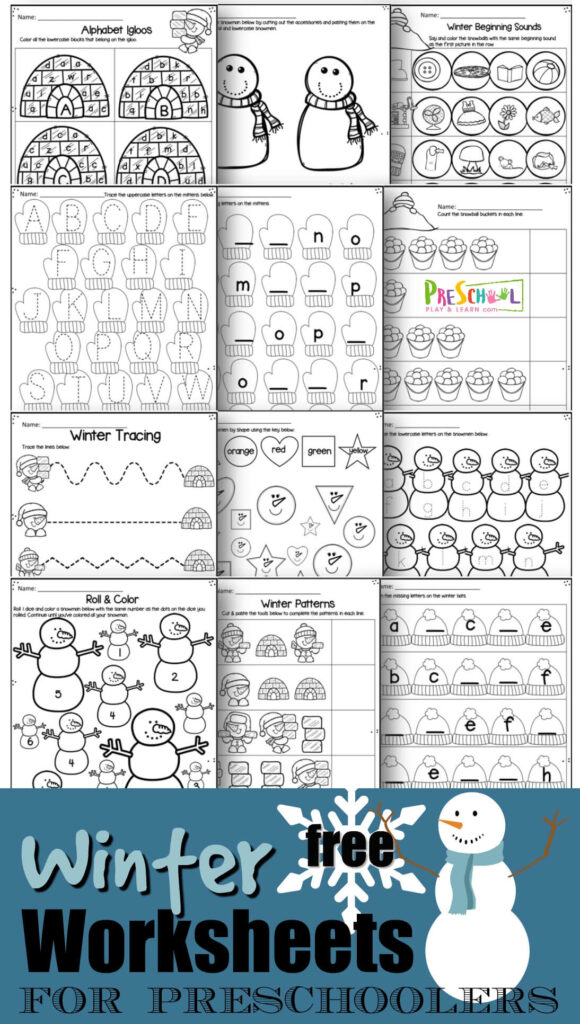 FREE Winter Worksheets for preschoolers - kids will have fun practicing counting, tracing letters, matching uppercase and lower case letters, and more with these super cute snowman, snowflake, snowball, igloo themed toddler, perschool and kindergarten age worksheets to make learning fun. #preschool #preschoolworksheets #winterworksheets