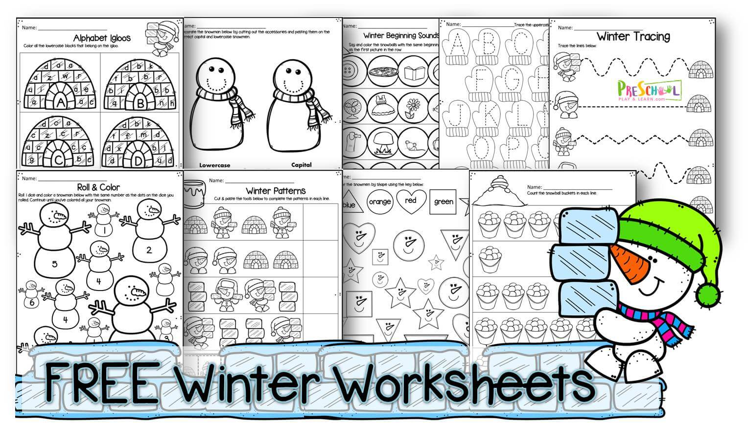 FREE Winter Worksheets for Preschoolers