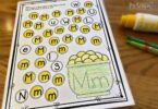 do a dot pritnables to help preschool, prek, kindergarten age students work on letter recognition