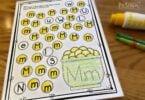 do a dot pritnables to help preschool, prek, kindergarten age students work on letter recognition