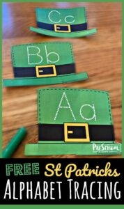 Have fun practing tracing alphabet letters with this St patrick's day printables. Children from toddler, preschool, pre-k, and kindergarten age students will enjoy tracing uppercase and lowercase letters on these green leprechaun hats to practice writing ABCs. Use these St patrick's day activities for preschoolers as part of a St Patricks Day Preschool theme in March. Simply download pdf file with st patrick day printable activities and you are ready to play and learn!