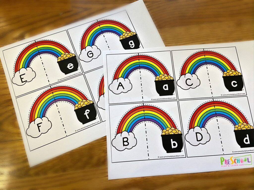 super cute Upper and Lowercase Letter Matching activty for march and st patricks day for pre k, kindergarten, and first graders