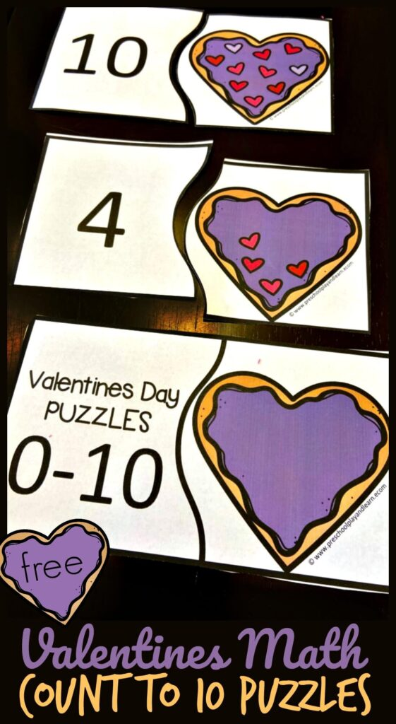 FREE Valentines Math Count to 10 Puzzles - super cute preschool math activity for february to practice counting to 10 with these sugar cookies. #preschool #preschoolmath #countot10 #valentinesday #preschoolprintable