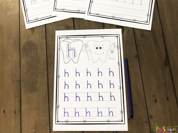 these black and white worksheets freaturing teeth with letters, happy tooth, toothbrush, and toothpaste are great for alphabet writing practice
