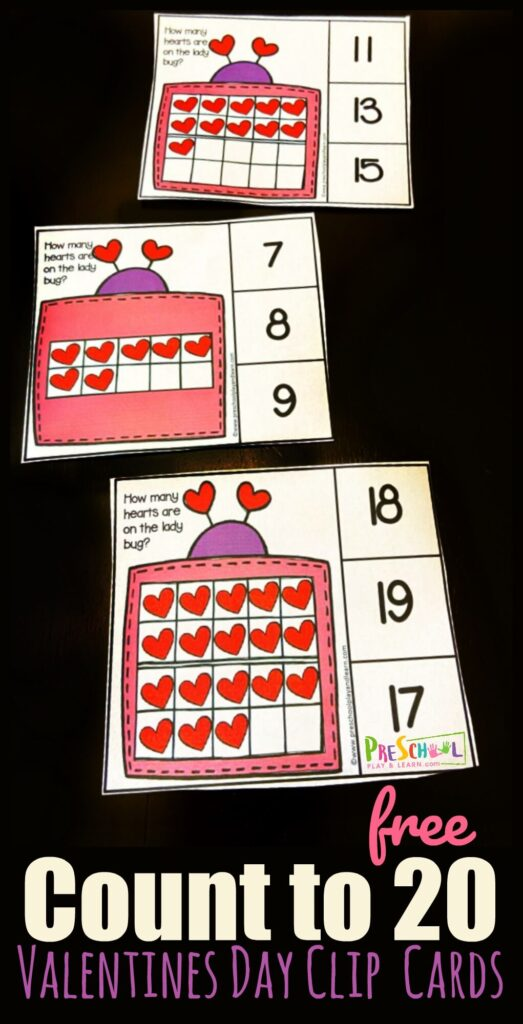These adorable lady bug clip cards are a fun Valentines Day Counting activity for preschool, pre-k, and kindergarten age students to practice how to count 1-20. This Valentines Math allows students to count beyond the simple 1-10 and get into those tricky teen numbers. The cute clipart and easy-to-prepare clip cards make it a win-win for both teachers and students. SImply download pdf file with the valentine activities for preschoolers to practice counting to 20 with a ten frame cactivity for a perfect math activity for preschoolers in February.