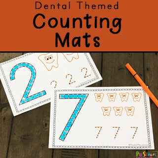 dental themed counting mats for feburary math centers with toddlers, preschoolers and kindergartners