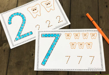 count to 10 and trace numbers with these free printable number worksheets for toddler, prek, kindergarten and preschool math during february
