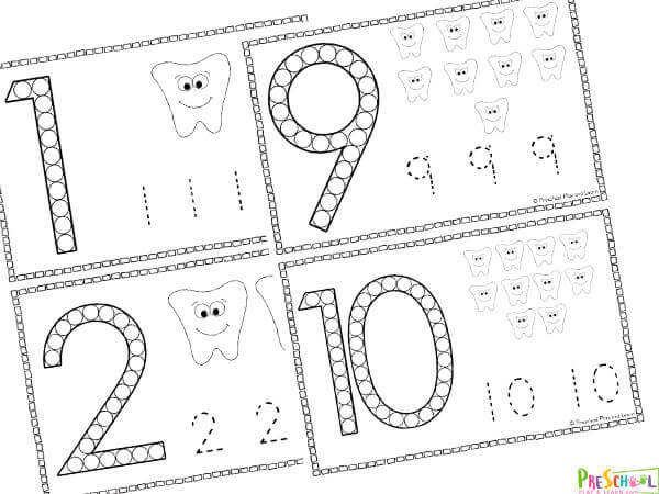 number worksheets with a numbet to stamp with bingo marker, do dot, dabber markers, count the teet and trace the numbers 1-10