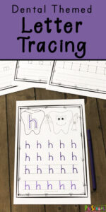 FREE Dental Themed Letter Tracing Activity - these free printable alphabet worksheets are perfect to add to your dental theme for preschool! These no prep tracing pages are great for preschoolers and kindergartners to practice forming both upper and lowercase letter #alphabet #preschool #kindergarten #worksheets #homeschool #dentaltheme