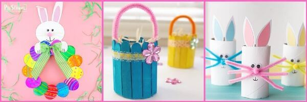 easter crafts with common themes like bunnies, baskets, eggs, and more for pre k