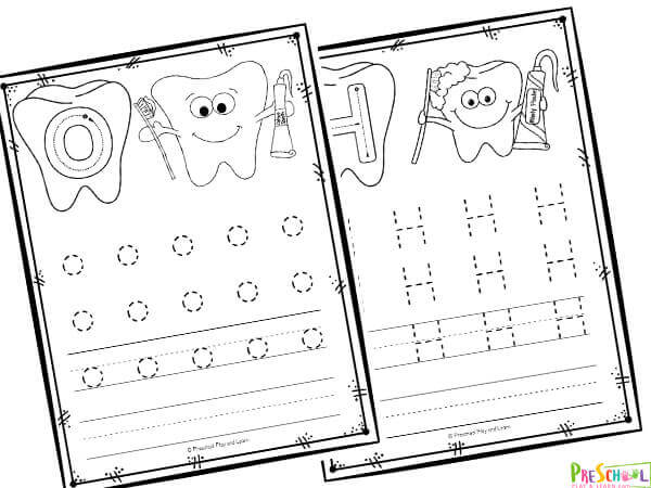 free alphabet printables perfect for a dentail health theme for February to help students practice tracing letters