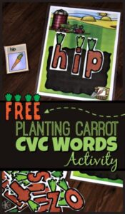 Planting Carrots CVC Words Activity