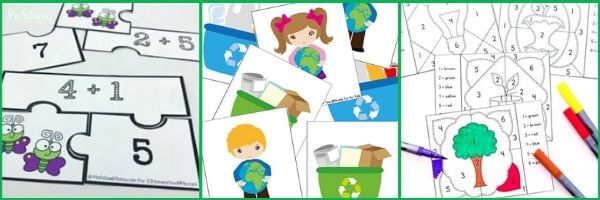 earth day math activites for preschool, pre k kindergarten age students