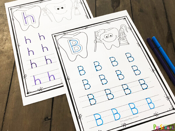 cute printable alphabet worksheets that require no prep for preschool, prek, and kindergarten age with a fun dental theme month in february