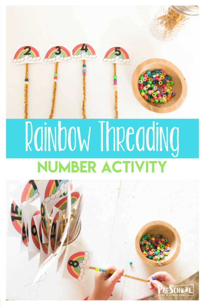 Rainbow Number Activity - super cute, fun, hands on math activity for preschoolers, toddlers and kindergartners to practice counting to 20. Perfect for math centers to celebrate spring, st patricks day, rainbow them, etc. #preschool #rainbows #countingto20