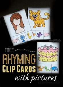 rhyming picture clip cards