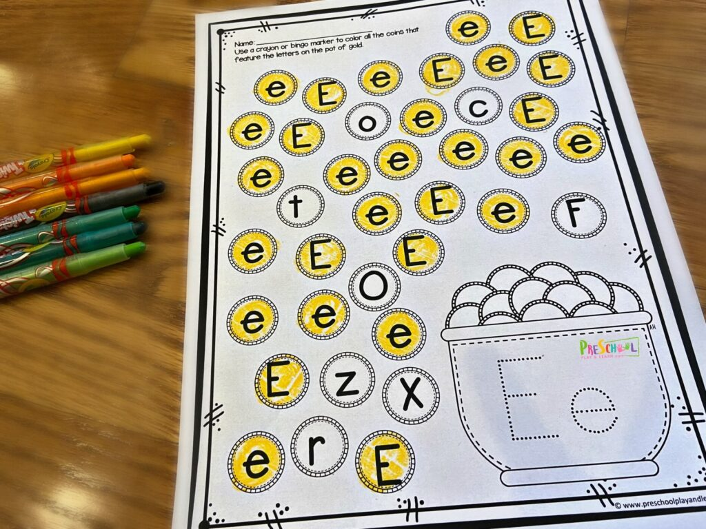 saint patricks day alpahbet printable - letter find that makes practicing upper and lowercase letters fun for march