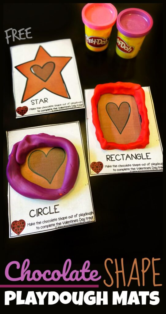 FREE Chocolate Shape Playdough Cards - this shape pritnable is a fun, hands on way for toddler, preschool, and kindergarten age kids to learn shapes for kids. Plus using playdough allows kids to strengthen hand muscles with a fun valentiens day activity for february #valentinesday #shapeprintable #shapeprintable #prek #kindergarten