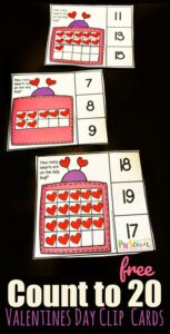 valentine math clip cards