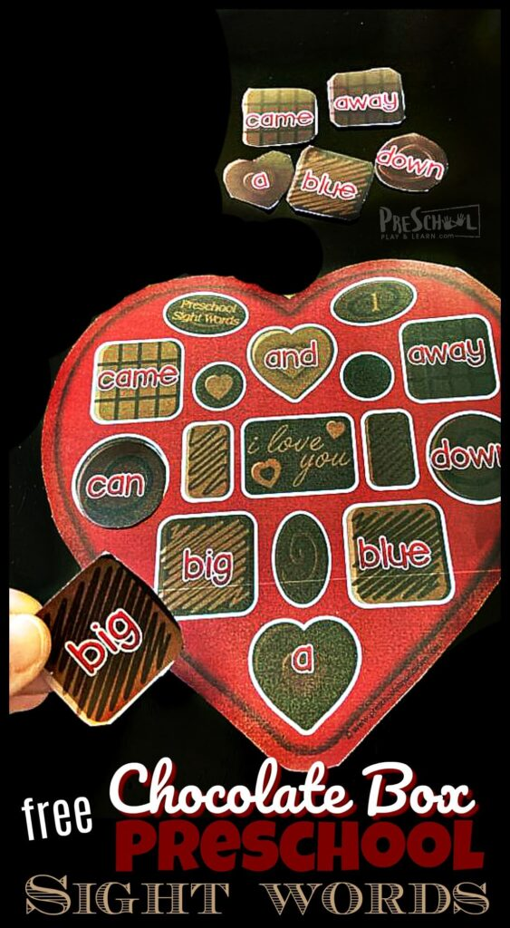 FREE Chocolate Box Preschool Sight Words - fun, hands on educational activity to help prek, preschoolers, and kindergartners to improving reading skills with a fun valentines day activity to improve fluency with dolch sight words #valentinesday #preschool #prek #sightwords