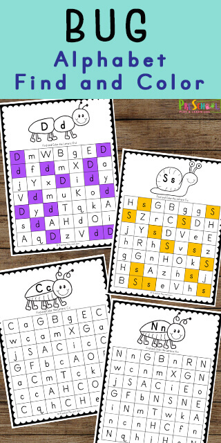 FREE Bug Themed Alphabet Find and Color - Young children will have fun learning their ABCs and searching for the upper and lowercase letters of the alphabet with these Bug Themed Alphabet Find and Color worksheets.