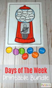 Make learning the days of the week for kids FUN with these gumball themed Days of the Week Printables. Use this printable days of the week with preschool, pre-k, and kindergarten, and first grade students to learn the days of the week. There are 3 different activities in this days of the week free printable to help kids really grasp the concept and learn the days. Simply download thedays of the week printables pdf free and you are ready to make learning fun!