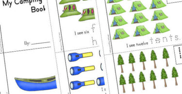 math activty for preschoolers couting while youa re camping from 1 canoe to 15 trees