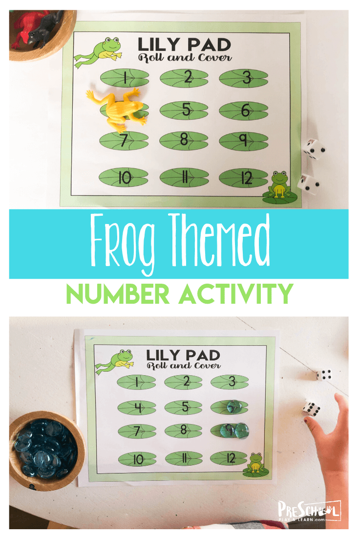 FREE Frog Number Game for Preschoolers - kids will have fun practicing visual discrimination and number recognition with this spring themed math activity for preschool, pre k age students.