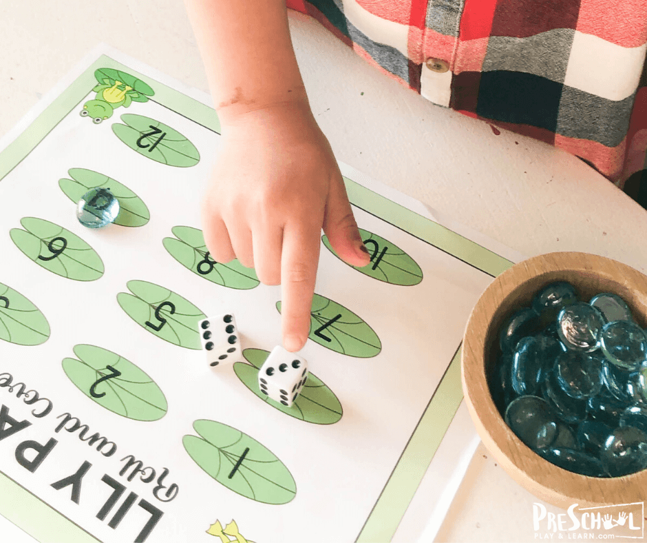 Preschool Math Game for spring with a fun frog theme