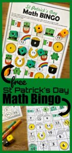 St Patricks Day Printable Math BINGO game to help kindergartners practice additoin