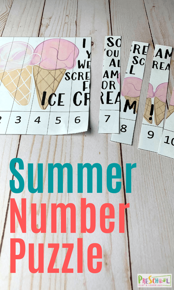 FREE Summer Puzzles for Counting with Toddlers - sneak in summer learning to practice counting to 10 with toddler, preschool, and pre k kids with this fun math game.