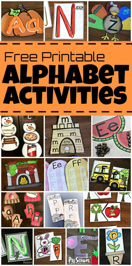 Tons of FUN, hands on alphabet activites for kids learning their letters, beginning sounds, phonemic awareness / phonics, matching upper and lowercase letters, play doh mats, building letters with popsicle sticks, letter tracing, and more for toddler, prek, kindergarten, and grade 1 #alphabetactivities #preschoolactivities #homepreschool #homeschool