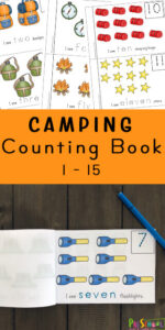 FREE Camping Counting Book - Young children will enjoy learning to count from one to fifteen with this free Camping Counting Book. This printable math activity for preschoolers is a great way to make learning fun.