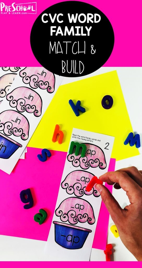 cvc wordFREE CVC Word Family Match and Build Ice Cream Scoops - Help kids improve their ability to decode words as they improve reading readiness while playing this Sundae Read & Write CVC Words activity for Pre k and Kindergarten.s family