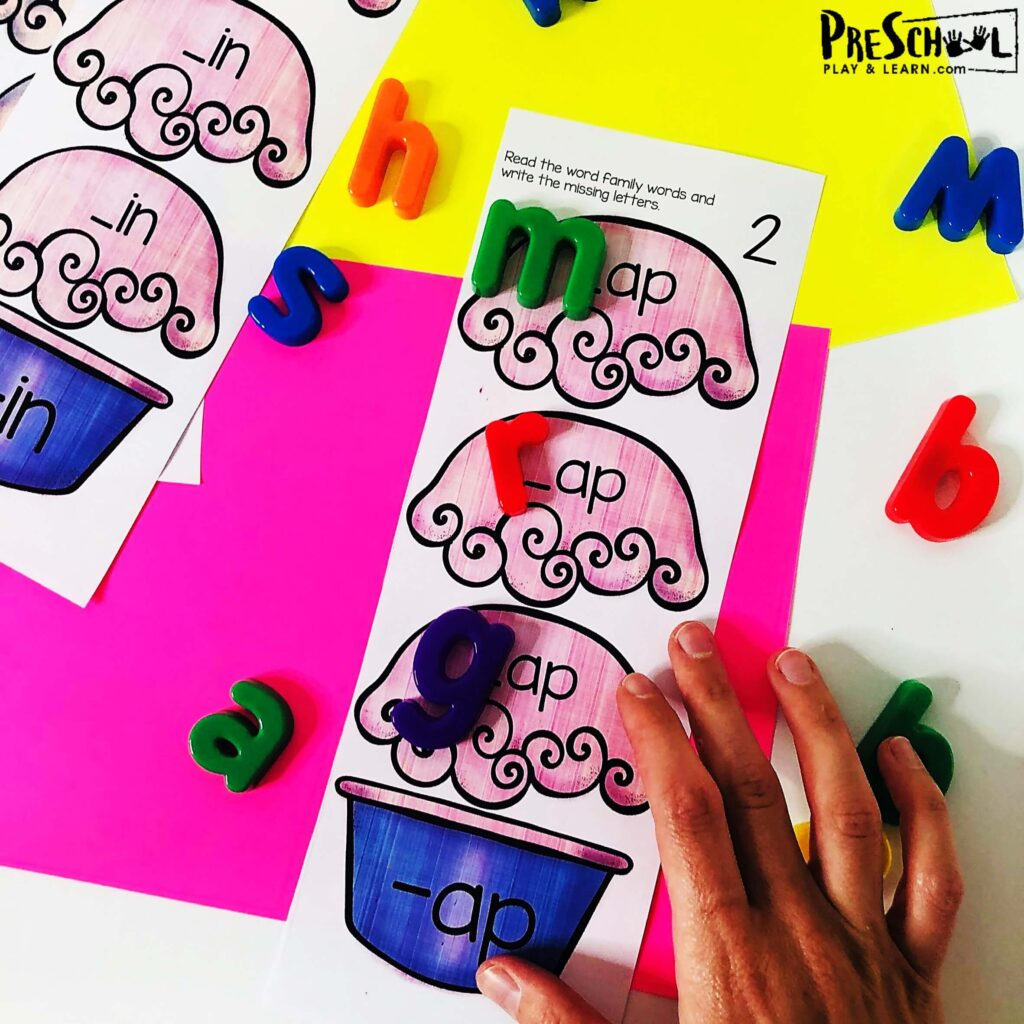 use template in pdf file with the cvc words kindergarten and preschool with magnetic letters or dry erase markers to work on literacy at home or in the classroom
