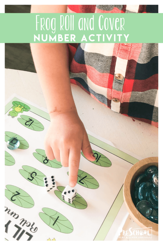 Super cute, FREE Frog Number Recognition Game is a great way for toddler, preschool pre k students to work on counting and number recognition with a fun spring themed math activity