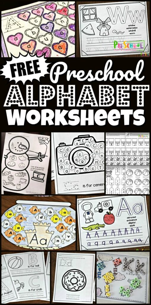 FREE Preschool Alphabet Worksheets - so many fun free printable worksheets for toddlers, preschoolers, pre k, and kindergartners to work on letter recognition with find the letter, tracing letters / alphabet tracing, alphabet coloring pages, letter matching, alphabet mats to use with playdough, fruit loops, M&M, plus so many more! #alphabet #alphabetworksheets #preschoolers #toddlers #kindergartners