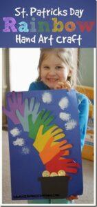 rainbow handprint art st patricks day crafts for preschoolers