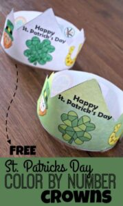 St Patricks Day Printable Color by Number Hats for Kids