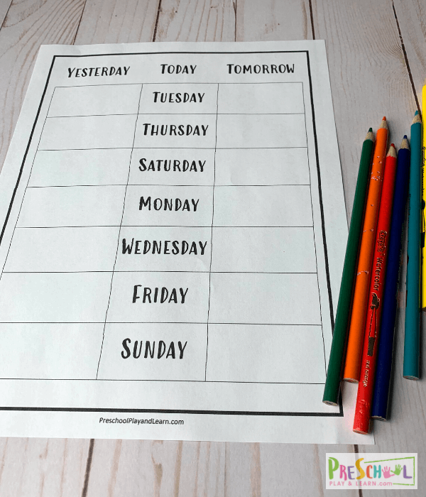 yesterday and today worksheet for prek and kindergarten age students learning their days of the week
