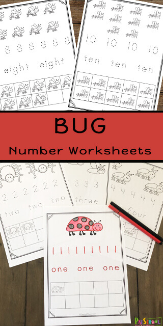 Kids love watching insects and bugs in the garden. So add some cute bugs to your preschool math and you'll keep kids engaged as they practicing learning the numbers from 1 through 10 with these super cute counting bugs worksheet. These preschool counting worksheets are perfect for spring time practice counting to 10 with  insect worksheets for preschool, pre-k, toddler, and kindergarten age kids. Simply download pdf file with tracing numbers worksheets and you are ready to count the bugs, trace the numberal, learn the number words, and practice counting using a ten frame.