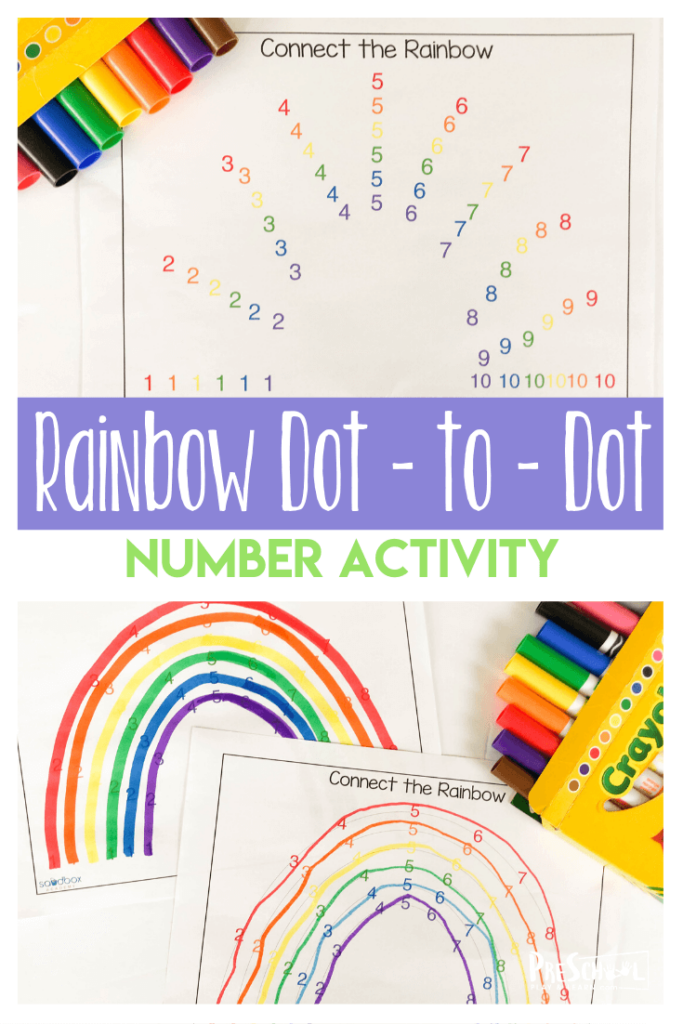 FREE Connect the Dots Number Recognition Rainbow activity - toddler, preschool, pre k, and kindergarten age kids will have fun working on visual discrimination as they complete their dot to dot going from 1-10. This free preschool worksheet is also great for working on color recognition with a spring, rainbow theme activity