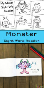 FREE Monster Sight Word Reader - Make learning preschool sight words FUN with this super cute, Emergent Reader for pre k, preschoolers, and kindergarten. Print, color and READ! Fun educational activity