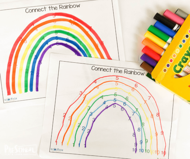 Cute rainbow activity to work on fine motor skills, counting to 10, and color recognition with preschool children