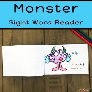 Free monster printable to help prek, kindergarten, and preschoolers learn dolch sight words