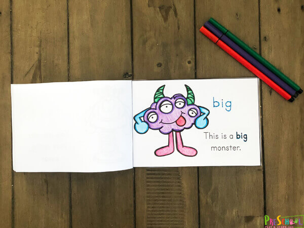 super cute, fun, and silly MONSTER printable sight word book