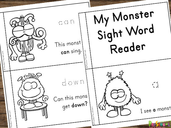 free printable preschool sight words reader featuring funny monsters