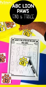 Kids will have so much fun choosing lion paw alphabet cards and tracing their letters with this fun and effective, ABC Match literacy center.