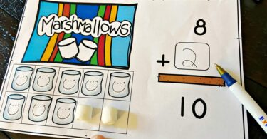write the number of marshmallows you need to add to complete your ten frame. This is such a fun, hands on Addition Within 10 activity for preschool, pre k, and kindergarten age students
