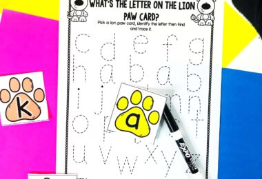 preschooler, pre k, and kindergartners will pick a lion paw, match it to the letters on the sheet, and complete the Alphabet Tracing Worksheets